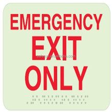 Glow In The Dark Material Braille Handicap Restroom Signs-EMERGENCY EXIT ONLY