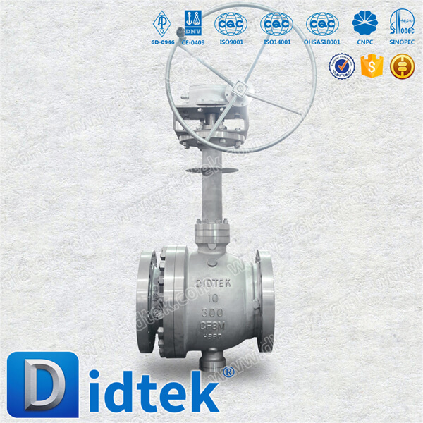 Didtek Gear Operated Stainless Steel Material Soft Seal Trunnion Mounted Ball Valve for Chemical