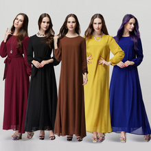 Fashion stylish plain pattern tradition muslim long sleeve abaya dress China manufacturer wholesale abaya dress