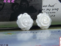 Hot sale carved white shell rose flower beads for women jewelry