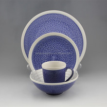 stoneware french ceramic tableware sapphire blue white dinnerware