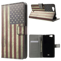 Vintage US Flag Patterned Card Slot Leather Case for Wiko Pulp FAB 4G