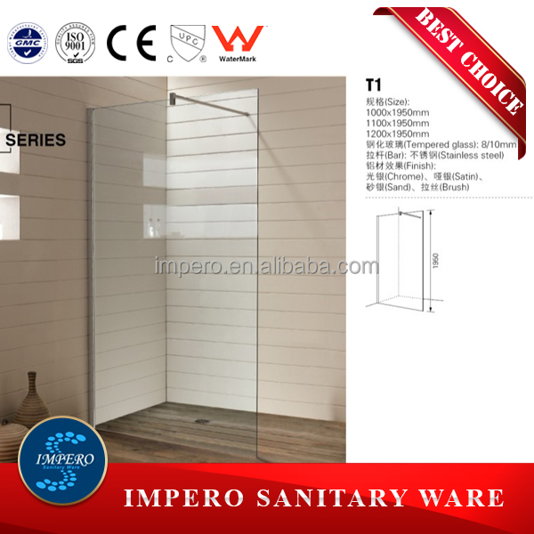 Straight tempered glass single sliding door shower cabin