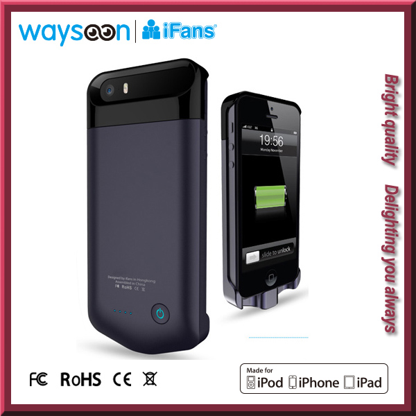 MFI battery case external backup power pack rechargeable cover for iphone 5 5s