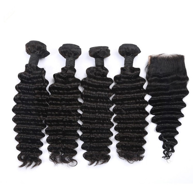 7A Cheap Indian Deep Wave Virgin Hair Bundles And Closure Human Hair Weave For Black Women