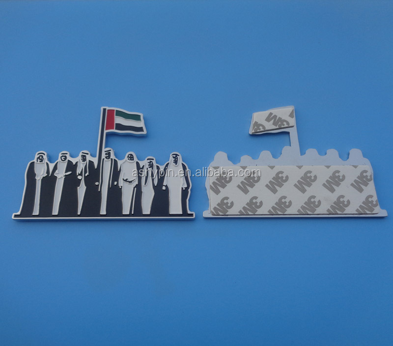 UAE seven sheikhs flag metal badges back with adhesive sticker
