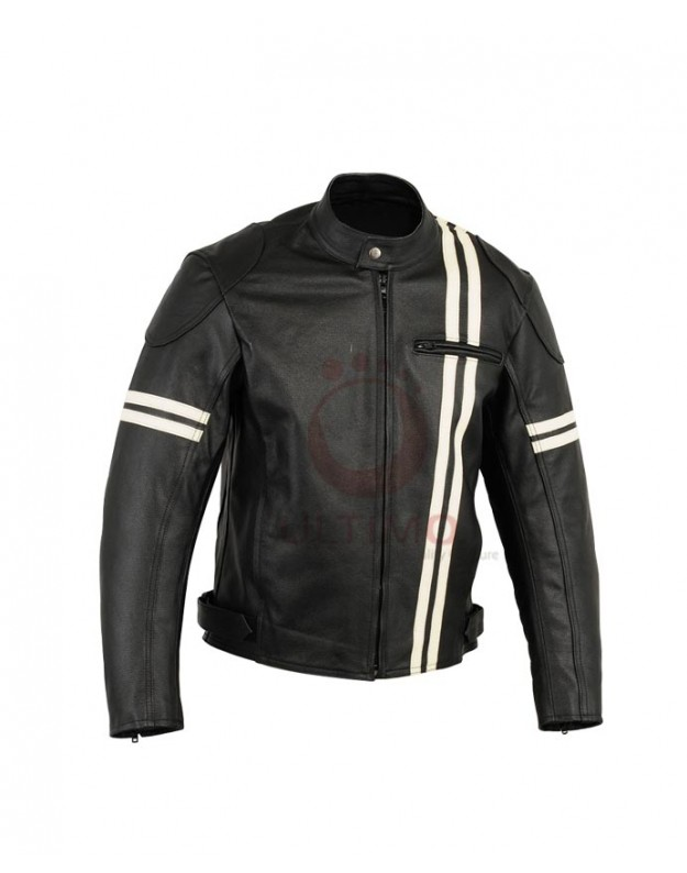 Black rider white stripped motorcycle leather jacket.