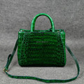 Top handle lady tote handbags in Green Crocodile belly skin