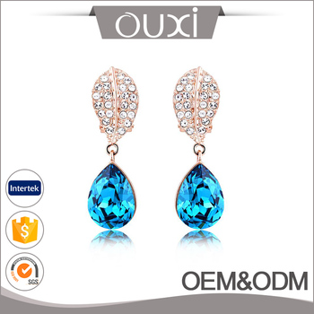 Hot sale latest jewelry 18k rhodium plated waterdrop shape dangle charm cubic zirconia crystal earring
