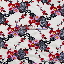 Pink plum blossom hongming plain embroidery laser cutting floral embroidered tull fabric for party dress overall 125cm style