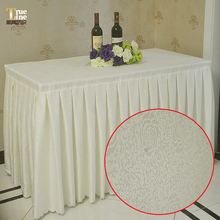 White color hotel custom table skirting hotel wedding table linens