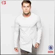 China clothing factory OEM Longline Long Sleeve T-Shirt With Asymmetric Zip Detail custom new model men's t-shirt