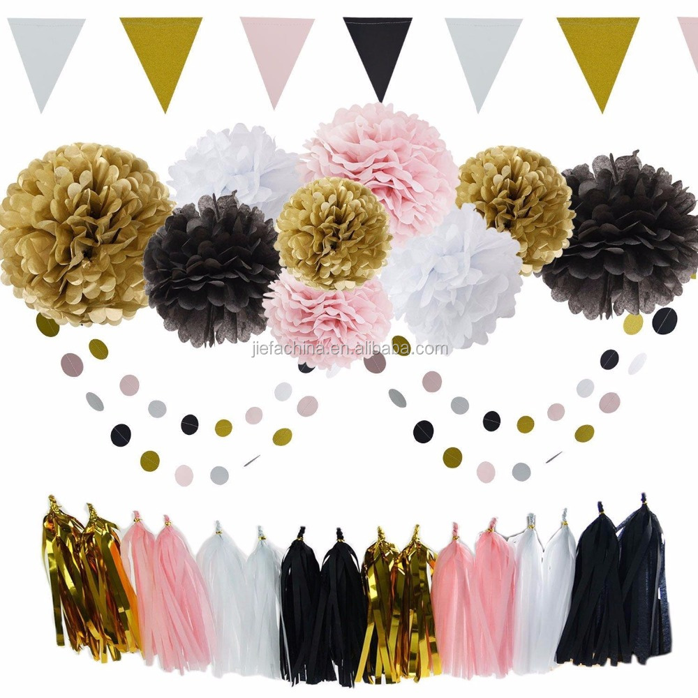 Gold, Black, Pink, White Tissue Pom pom with Dot Circle Garland, Tassel And Beautiful Banner Party Set