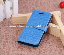 Crocodile Skin Pattern PU Leather Case For iPhone5 Case With Stand