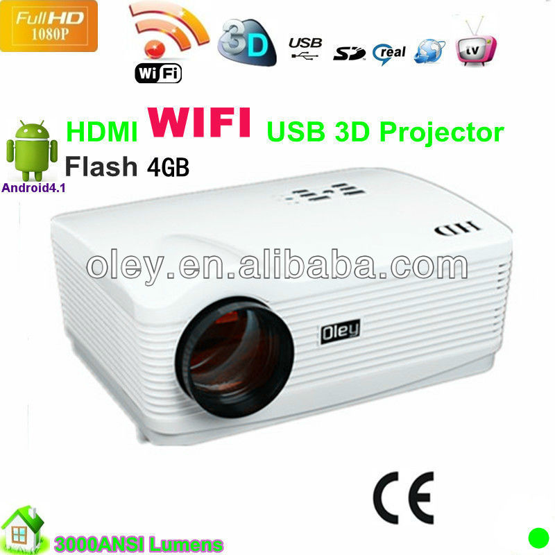 New arrival 3000lumens powerful high quality full HD dlp link sutter 3D projector ,amazing portable wifi projector