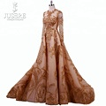 High End Luxury Handmade Beading Golden Lace Evening Dress