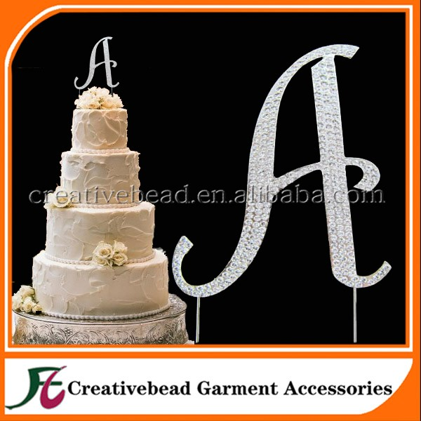 customized cheap 2019 silver A letter Funny wedding rhinestone cake toppers