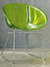Green transparent clear seat with stainless steel acrylic leisure chair/Plastic Chair