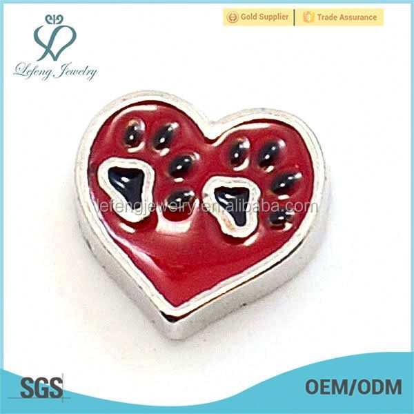 New cute enamel red heart floating charms for glass locket jewelery