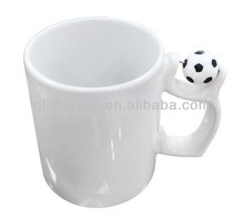 2014 Brazil World Cup White Sublimation Mug with Football Spinner handle