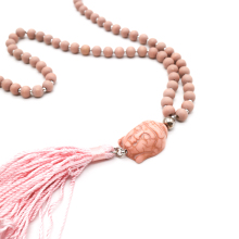 bohemian long wood bead mala buddha head pendent tassels rosary necklace