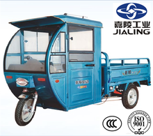 hot sale China Jialing 60V 1000W electric truck cargo tricycle with cover for adults