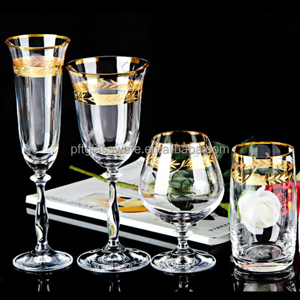 2017 wholesale elegant gift champagne glasses / water glass with gold rim silver / gold rimed crystal goblet wine glass
