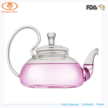 2017 new fashion designs flower glass tea pot with glass handle