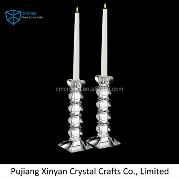 Tall Geometric Crystal Candlestick Holder