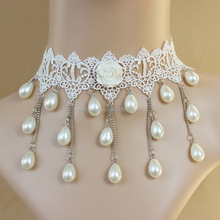Korea bride wedding dress jewelry white roses necklace tassel pearl necklace jewelry