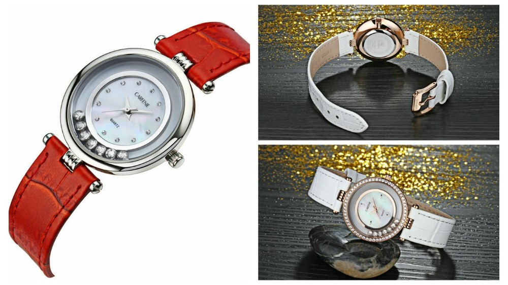 Customized japan movt lady leather quartz watch