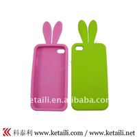Cute rabbit shape silicone phone case for iphone 4