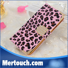 Fashion Luxury diamond Leopard leather case for Samsung galaxy S4 i9500 flip wallet credit card holder phone case for Galaxy S4