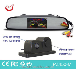 4.3 inch tft lcd rear view mirror car monitor with 2 in 1 car rearview camera parking sensor
