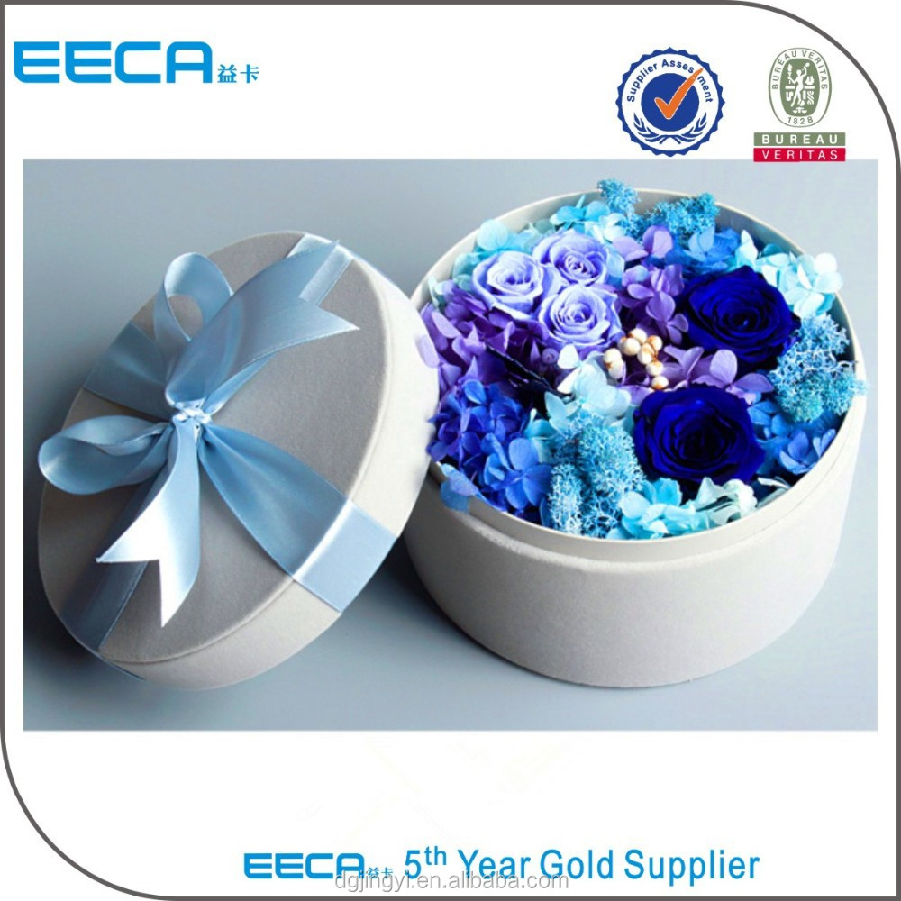 High quality cardboard round paper flower box with ribbon