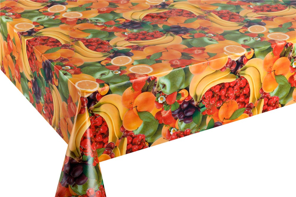 fruit design waterproof plastic pvc vinyl tablecloth table cover rolls
