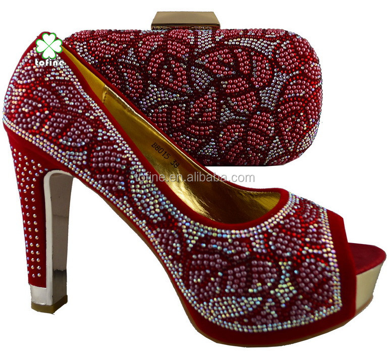 Wholesale latest fashion ladies african style shoes match bag for party