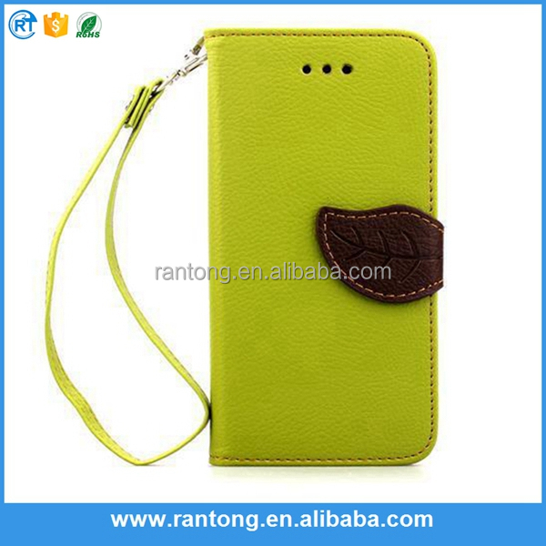 simple design top quality Wholesale Double Color leaf style leather flip stand cell phone case for iphone 6