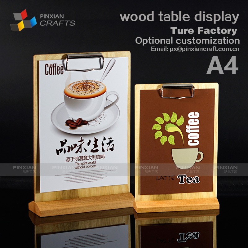 A4A5A6 customized Mobile phone shop, digital products store, cafe cake shop hotel wood table restaurant menu holder
