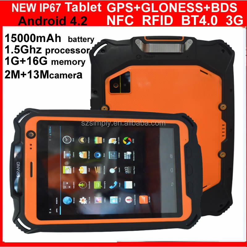 IP67 8 inch rugged android tablet pc 3G calling , BT 4.0 NFC RFID BDS. GLONESS GPS. OPTIONAL