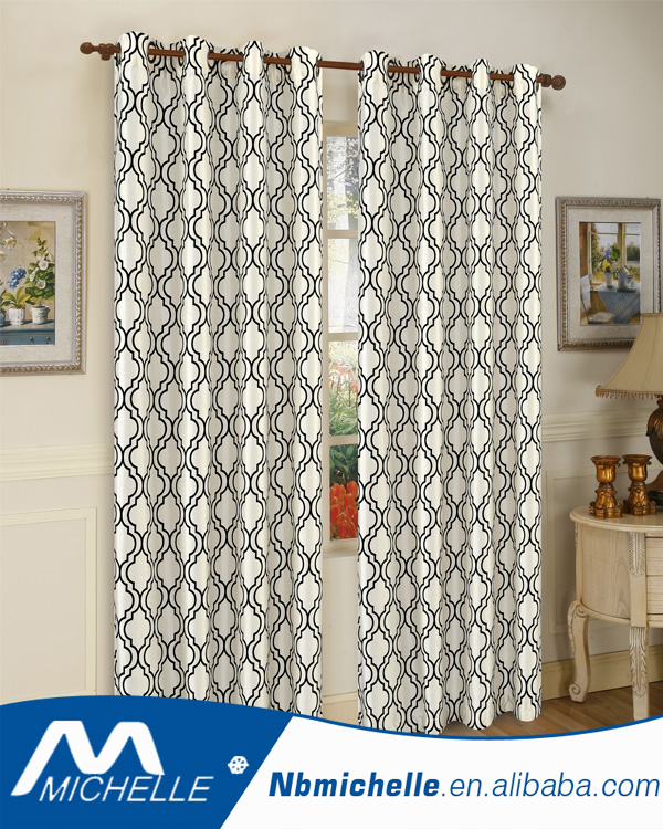 Free sample Flocked Faux Silk Home Window Curtain
