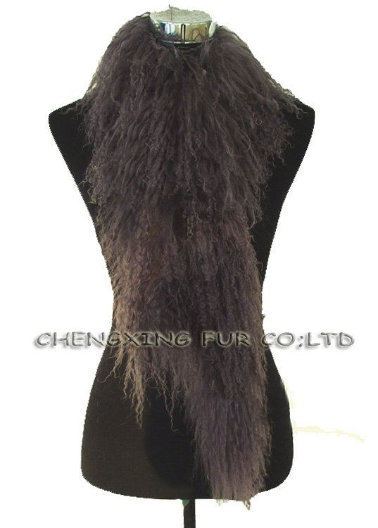 CX-S-11A Single Side Lined Genuine Mogolian Lamb Fur Scarf