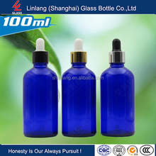 Blue essential oil bottle 100ml with dropper