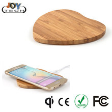 Bamboo wood wireless portable charger base qi phone wireless charger