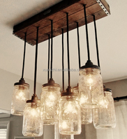 0627-4 Handcrafted Rustic Vintage Style Wood Crate Canopy Jar Pendant Chandelier