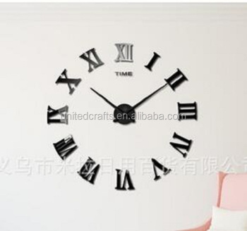 Modern home decorative diy fashion watches 3d wall clock sticker