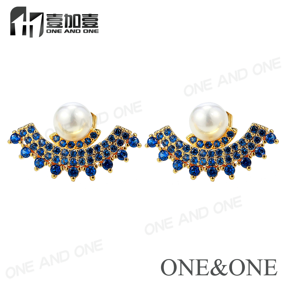 Gold Plated Color Fan Shape Big Fashion Pearl Design Womens Stud Earrings