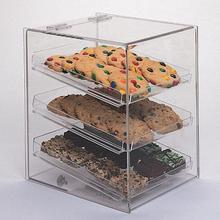 Free Solution Design Bakery Retail Shop Counter Top 3-Tier Pure Acrylic Cupcake Candy Display Case