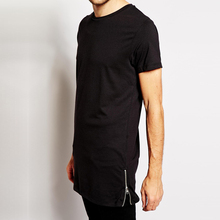 ATSC004 100% Cotton Men Tall T Shirt, Long Line T Shirt Men, Elongated T shirt