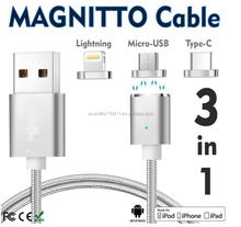 3 in 1 Magnetic Cable for iPhone Micro USB Type C Fast Charge 1M Nylon Sync Mobile Phone Charging Cables for Samsung